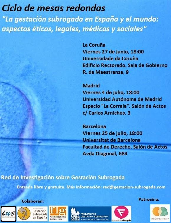 Mesas redondas sobre gestación subrogada en A Coruña, Madrid y Barcelona