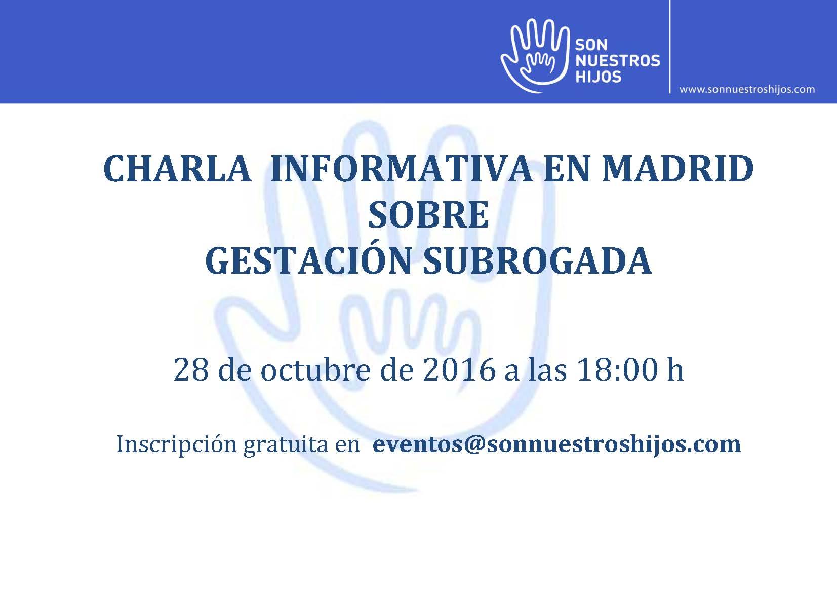 CHARLA INFORMATIVA DE SNH EN MADRID SOBRE GESTACIÓN SUBROGADA